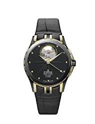Edox Men's 85012 357JN NID Grand Ocean Automatic Gold PVD Black Leather Window Watch