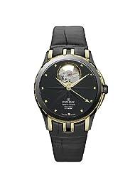 Edox Men's 85012 357JN NID Grand Ocean Automatic Gold PVD Black Leather Window Watch