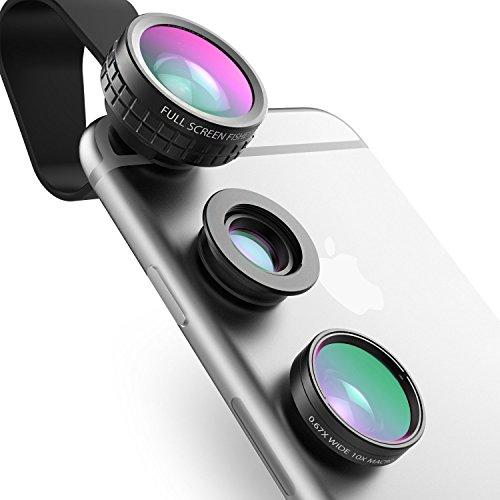 AUKEY Lenti Smartphone Clip On Obiettivi Cellulari 3 in 1 Lente Fisheye 180 Gradi + Lente Grandangolo 0.67X + Lente Macro 10X per iiPhone 6 / 6 Plus , iPhone 6S / 6S Plus , iPhone 5S / 5 , Samsung Galaxy S6 / S6 Edge / S5, HTC, ed altri Smartphone