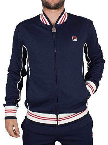 Fila Vintage Uomo Baranci Logo Zip Jacket pista, Blu, Large