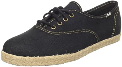 Keds Women's Champion Jute Lace-Up Fashion Sneaker,Black,5 M US