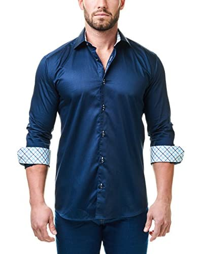 Maceoo Men's Luxury Check Satin Shirt