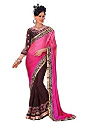 AG Lifestyle Pink & Brown Satin Chiffon & Georgette Saree With Unstitched Blouse ASL801