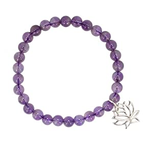 Lotus Blossom Charm in Sterling Silver on Purple Amethyst Genuine Gemstone 6mm Bead Stretch Bracelet, 7 Inch Length, #7189
