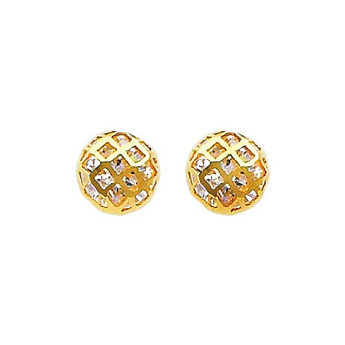 14K Yellow Gold Plated Sphere Domed CZ Stud Earrings with Screw-back for Children & Women