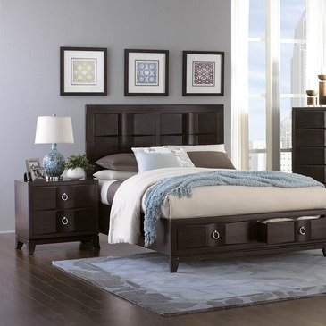 Homelegance Edmonston 2 Piece Platform Bedroom Set w/ Storage Footboard in Rich Espresso
