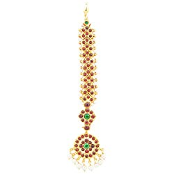 Gold finish Kempu V shaped chutti- Mang tika