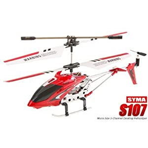 S107g 3 Channel Mini Indoor Co-axial Metal Rc Helicopter W Built In Gyroscope Red Yellow Set Of 2 by Syma