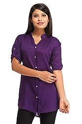 Snoby Purple Rayon Plain Shirt (SBY1162)