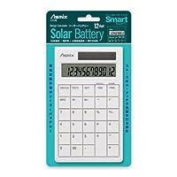 アスカ(ASMIX) デザイン電卓 ソーラーバッテリー ホワイト C1214W