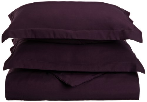 Lamma Loe'S Silky Soft Solid Microfiber Luxury 3-Piece Duvet Cover Set, Includes Pillow Shams-King, Eggplant Purple front-627186