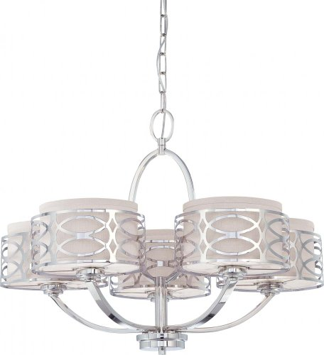B005B7PU0M Nuvo 60/4625 Harlow Polished Nickel Five Light Chandelier
