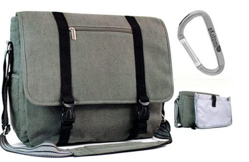 Smoke Canvas Laptop Messenger Bag for 15.6 inch Asus K50IJ-X3 Notebook + An Ekatomi Hook.