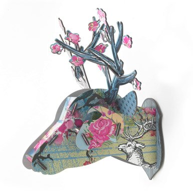Floral Stag Head Object (Medium) (Pink Rose)