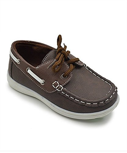 CoXist Boy's Suede PU Boat Shoe (Big Kid/Little Kid/Toddler) in Brown Size: 13 Little Kid M