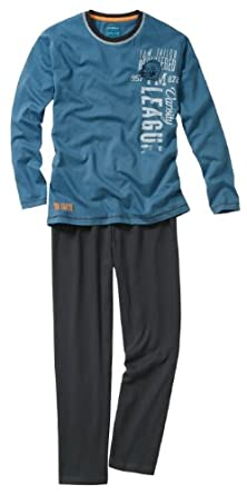 Tom Tailor Herren Schlafanzug Pyjama Gr. 52 Blau / Grau