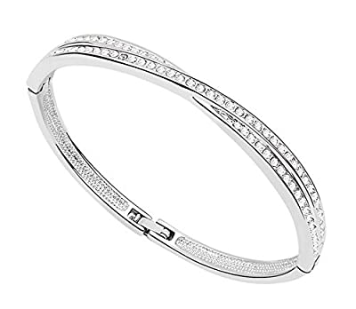 7 Ounces - Swarovski Elements Crystal Transparent - Bracelets/Bangle for Women/Girls - White Gold Plated Alloy Fashion Jewelry - Best Ideal Gift Perfect for Birthdays / Christmas /Mother's Day/Valentine's Day/ Wedding - 'Winter Sonata' - Inside diameter: