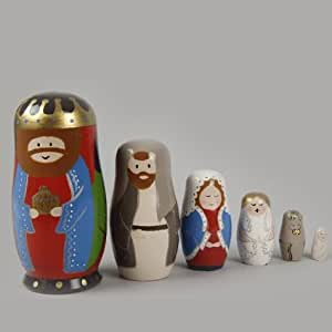 Izaneo set 6 santons matriochkas pour creche de noel for Decoration de noel amazon