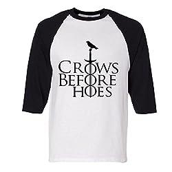 Crows Before Hoes Raglan Baseball T-Shirt
