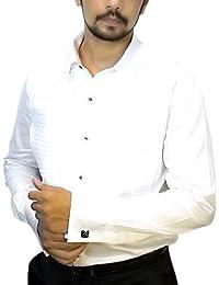 Magnus Men's Designer Shirt (White) (With Black Bow Free)