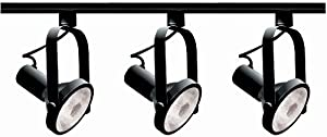 Nuvo Lighting TK317 3-Light PAR30 Short Neck Gimbal Ring Track Light Kit, Black