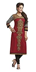 Amp Impex Women's Cotton Unstitched Kurti Fabric (AIAFSAHELI1225_RED)