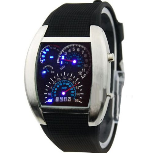 Rpm Turbo Blue & White Flash Led Watch Brand New Gift Sports Car Meter Dial Men /Blue Light/Black Band/Black