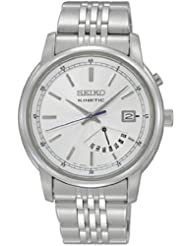 Seiko Kinetic Silver Dial Day and Date Mens Watch SRN027