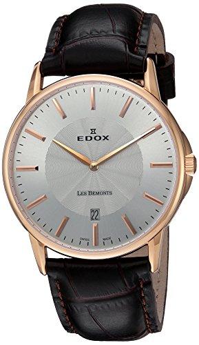 Edox 5600137r-air-Reloj unisex, correa de piel color marrón de cuarzo analógico