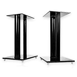 Minify - 1 coppia di supporti V2 Black-Line, in vetro e alluminio, a 2 colonnine, con piedi a punta e canalina per cavi