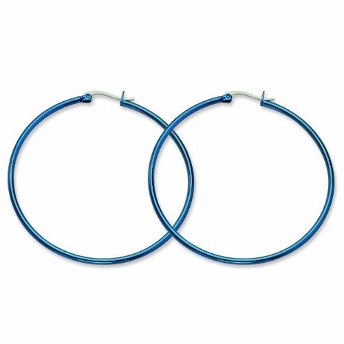 Genuine Chisel (TM) Earrings. Stainless Steel Blue 61mm Hoop Earrings. 100% Satisfaction Guaranteed.