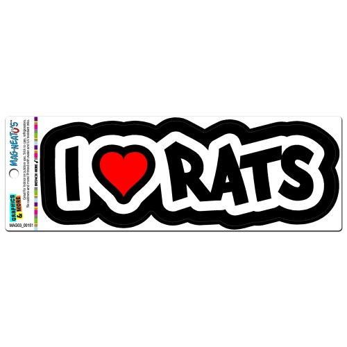 I Love Heart Rats MAG-NEATO'STM Automotive Car Refrigerator Locker Vinyl Magnet