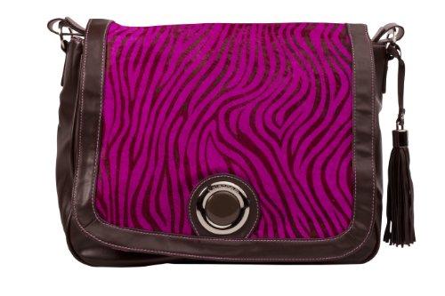 Kalencom Madonna Messenger Bag, Zebra Black/Hot Pink