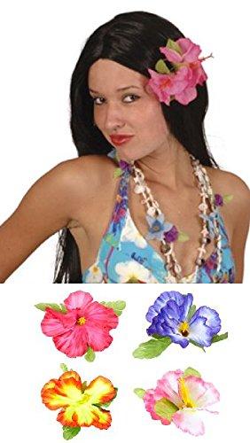 Mondial-fete - Fleur clip hibiscus 4 couleurs