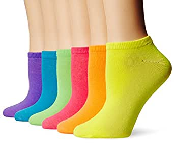 K. Bell Women's 6-Pack Assorted No-Show Solid Neon Socks,Assorted,One Size (Fits Shoe Size 4-10)