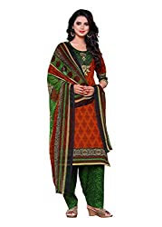 Salwar Style Design Women's Cotton Unstitched Salwar Suit Dress Material (SS1022_Free Size_Maroon & Green)