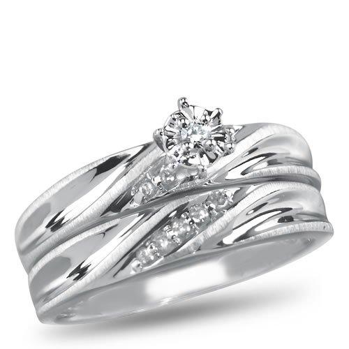 Angelina, P4 Diamond Bridal Set, 1/20 carat total weight