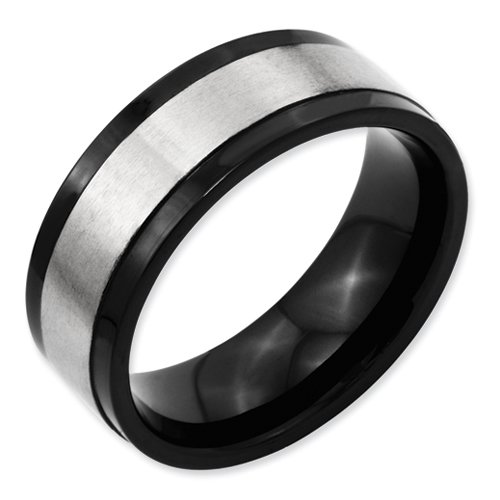 Titanium Beveled Edge 8mm Two-tone Satin and Polished Band Size 12
