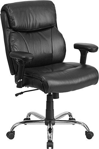 Flash Furniture HERCULES Series 400 lb. Capacity Big & Tall Black Leather Swivel Task Chair w/Height Adjustable Arms Height Adjustable Arms