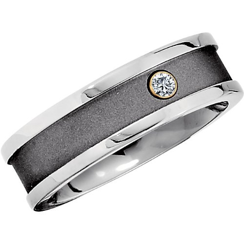 7 Mm Comfort Fit Titanium And Satin Black Diamond Ring (.05 Ct., G-I Color, Si1 Clarity), Size 11.5