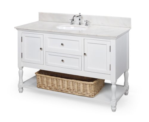 Danze Kitchen Faucets: Beverly 48-inch Bathroom Vanity (White/White): Includes Marble Countertop