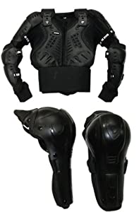 XTRM Kids Off Road M/X Motorcycle Body Armour Jacket Black (CE Approved) + Hinged Knee 8 Years/ M