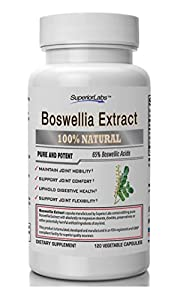 #1 Boswellia Extract by Superior Labs - Non Synthetic! - 65% Boswellic Acids. 600mg, 120 Vegetable Caps - Made in USA, 100% Money Back Guarantee