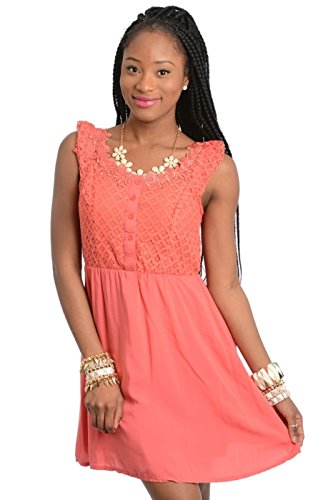 2Luv Women'S Lace Bodice Open Back Dress Coral L(Cd3609)