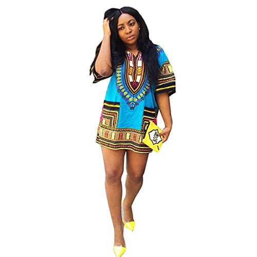 Women Traditional African Print Dashiki Beach Party Dress (XL, Light Blue)