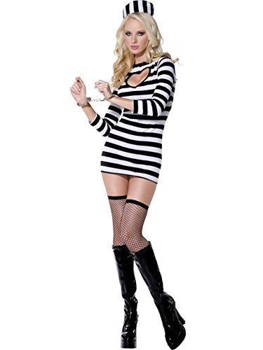 Smiffys Women's White/Black Fever Sexy Convict Costume -US Dress 10-12
