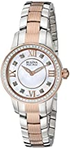 Bulova Accu Swiss Womens 65R152 Diamond Two Tone Watch
