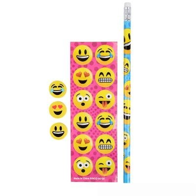 Emoji stationary sets – 1 dozen sets ~~ emoji pencils – emoji erasers – emoji stickers by happy deals
