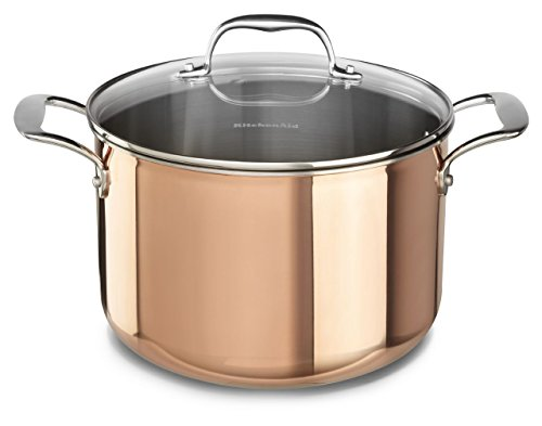 KitchenAid KCP80SCCP Tri-Ply Copper 8-Quart Stockpot with Lid Cookware - Satin Copper
