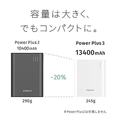 cheero Power Plus 3 13400mAh 大容量 モバイルバッテリー [ 国産Sanyo/Panasonic高品質電池搭載 ] iPhone 6s / 6s Plus / 6 / 6 Plus / 5s / 5c / 5 / iPad / Android / Xperia / Galaxy / 各種スマホ / タブレット / ゲーム機 / Wi-Fiルータ 等 急速充電 対応